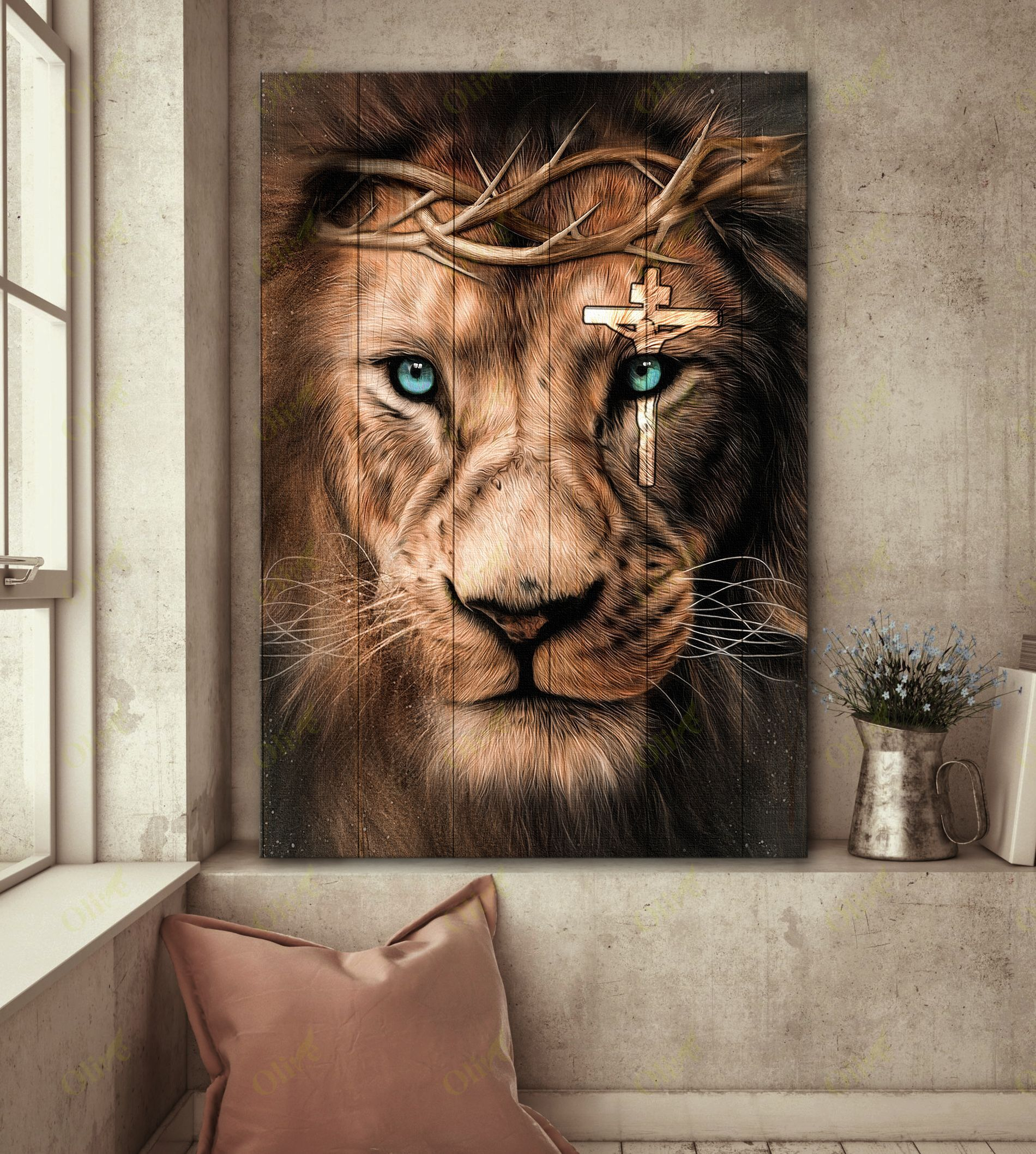 Jesus - Awesome lion and cross on his eye Canvas
