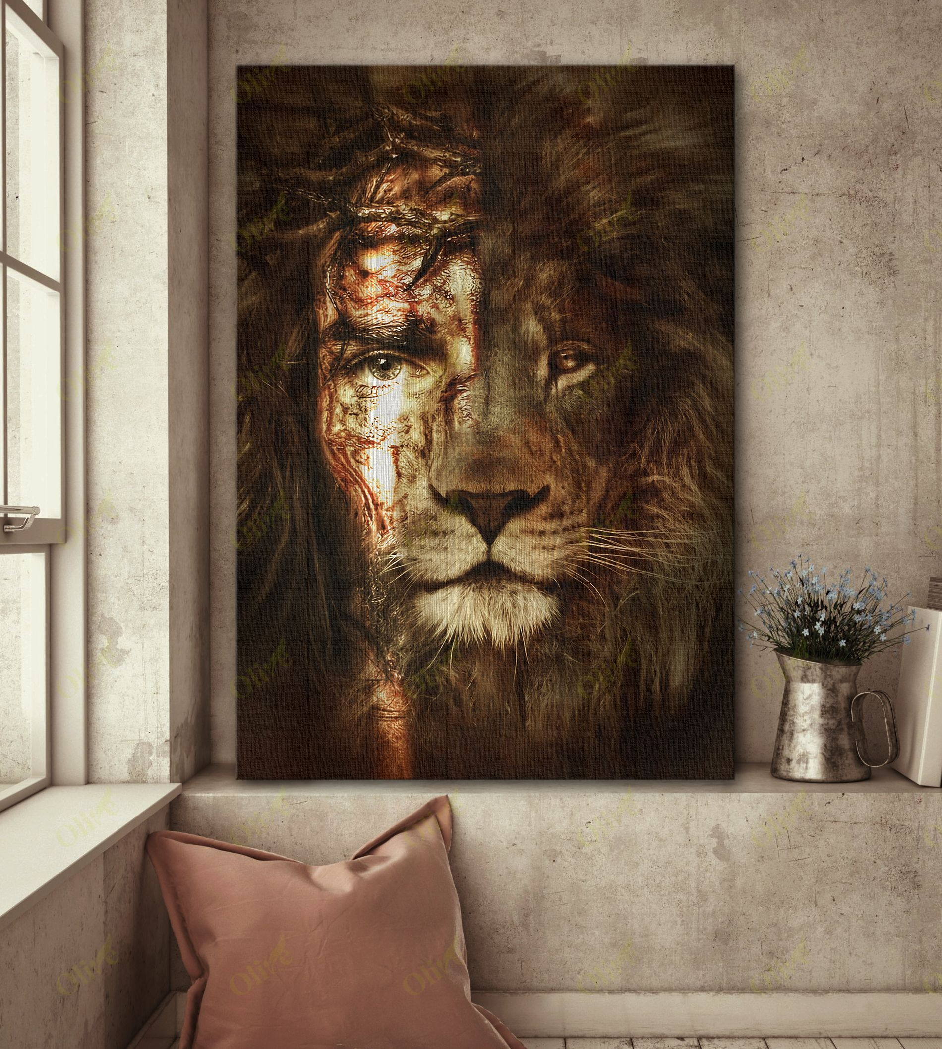 Jesus and Lion - The perfect combination Special Custom Canvas