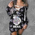 Weed dont care bear holo gram Lace-Up Sweatshirt