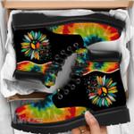 Hippie Tie Dye Hippie Sunflower Peace Sign Leather Boots