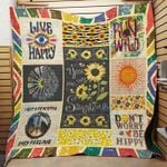Hippie You Are My Sunshine Sunflower Premium Quilt Blanket Size Throw, Twin, Queen, King, Super King