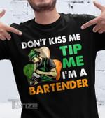 Don't kiss me tip me i'm a bartender st Patrick Graphic Unisex T Shirt, Sweatshirt, Hoodie Size S - 5XL