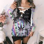 Weed Alien Hologram Pattern Lace-Up Sweatshirt