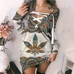 Weed Mandala Pattern Lace-Up Sweatshirt