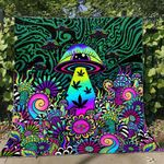 Weed mushroom psychedelic color Premium Quilt Blanket Size Throw, Twin, Queen, King, Super King