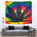 Weed leaf psychedelic color Tapestry