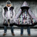 Weed Alien Hologram Hooded Cloak Coat