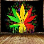 Cannabis Weed Leaf Water Color Tapestry