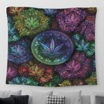 Weed mandala psychedelic color Tapestry