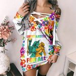 LGBT Liberty And Justice For All Lesbian Justice Lesbian Liberty Lace-Up Criss Cross Sweatshirt Dress