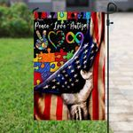 American Flag Peace Love Autism Puzzle Garden Flag, House Flag