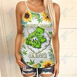 Weed Dont Care Bear Sunflower Criss-Cross Open Back Cami Tank Top