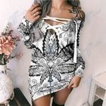 Cannabis Weed Leaf Lace-Up Criss Cross Sweatshirt Dress