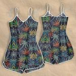 Weed leaf color pattern Rompers For Women