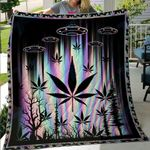 Weed Alien Spaceship Premium Quilt Blanket Size Throw, Twin, Queen, King, Super King