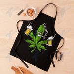 Cannabis Weed Leaf And Beer Apron