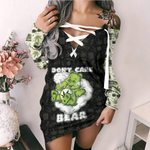 Weed dont care bear Lace-Up Criss Cross Sweatshirt Dress