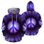 Purple Hippie Peace Symbol 3D All Over Printed Shirt, Sweatshirt, Hoodie, Bomber Jacket Size S - 5XL