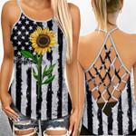 Sunflower America Flag Criss-Cross Open Back Cami Tank Top