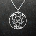 Weed Don't Care Bear Smoking Joint Handmade 925 Sterling Silver Pendant Necklace