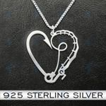 Fishing Rob And Hook Heart Handmade 925 Sterling Silver Pendant Necklace