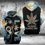 Weed World's Dopest Dad Skull Earth 3D All Over Printed Shirt, Sweatshirt, Hoodie, Bomber Jacket Size S - 5XL