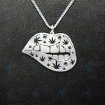 Weed Leaf Sexy Lip Handmade 925 Sterling Silver Pendant Necklace