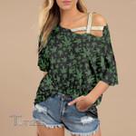 Weed leaf green pattern Cross Shoulder T-shirt