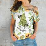 Weed Bee Happy Sunflower Cross Shoulder T-shirt