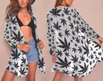 Weed leaf blak pattern Beach Kimono