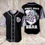Weed Leaf Don't Care Bear Baseball Shirt