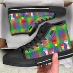 LGBT hand color pattern Unisex High Top Canvas Shoes