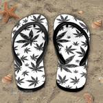 Weed Leaf Black And White Pattern Flip Flop