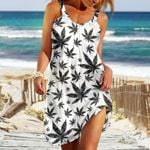 Weed Leaf Black And White Pattern Sleeveless Beach Dress With Round Neck