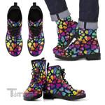 Lgbt Pride Rainbow Heart Pattern Print Leather Boots