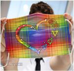 LGBT rainbow heart icon camo pattern Face Mask PM 2.5 3pcs