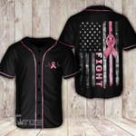 Breast cancer america flag ribbon Baseball Shirt