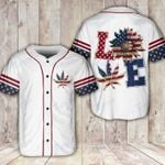 Weed Love American Flag Independence Day 4th July Baseball Shirt