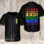 LGBT i am brave i am bruised Baseball Shirt