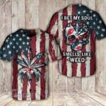 Weed American Flag Skull Smell Like Weed Baseball Shirt