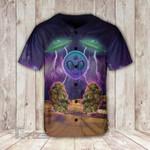 Weed bud alien galaxy Baseball Shirt