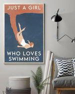 Just A Girl Who Loves Swimming Wall Art Print Poster