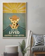 Summer Ocean Boat Sunflower And She Lived Happily Ever After Wall Art Print Poster