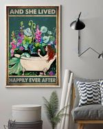 Mermaid Bathtub Wine Flowers And She Lived Happily Ever After Wall Art Print Poster