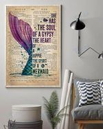 Mermaid Tail She Has The Soul Of A Gypsy The Heart Of A Hippie The Spirit Of A Mermaid Wall Art Print Poster