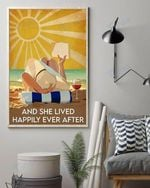 Beach Sun Summer Reading Book Wine And She Lived Happily Ever After Wall Art Print Poster