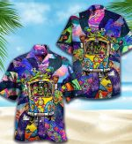 Psychedelic Hippie Alien All Over Printed Hawaiian Shirt Size S - 5XL