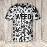 Weed Black Pattern Baseball Shirt