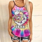 Weed dont care bear tie dye Criss-Cross Open Back Cami Tank Top