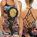 LSD Psychedelic Criss-Cross Open Back Cami Tank Top